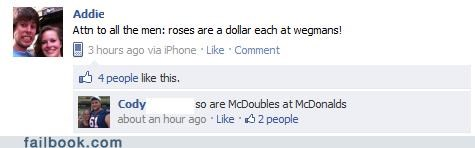 battle of the sexes,cheap,McDonald's,roses