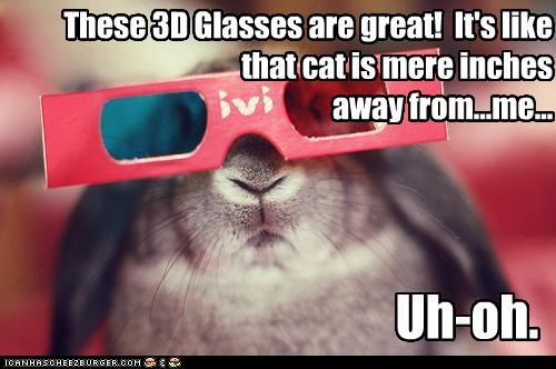 3d 3-D 3-d glasses afraid bunny caption captioned cat closeup do not want glasses rabbit realization revelation uh oh - 4864668160