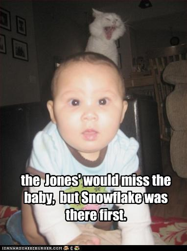 the  Jones' would miss the baby,  but Snowflake was there first.