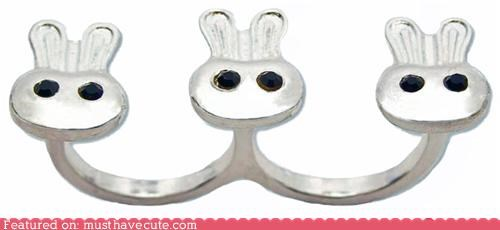 bunnies Jewelry rabbits rhinestones ring silver - 4865100032