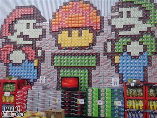 display,gorcery store,nerdgasm,soda,super mario brothers,video games