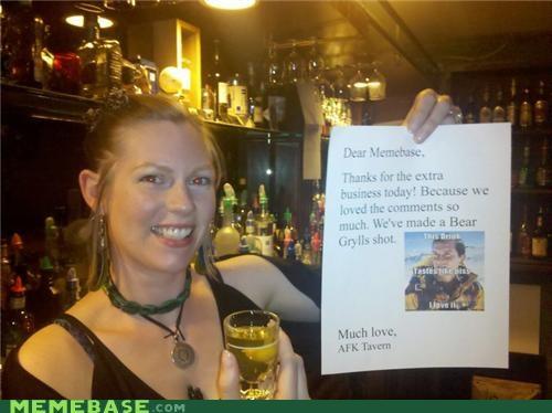 afk tavern bear grylls drink menu IRL Memes - 4865974016