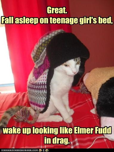 asleep,bed,caption,captioned,cat,do not want,drag,elmer fudd,fall,girl,great,hat,looking,resembling,teenage,upset,wake up