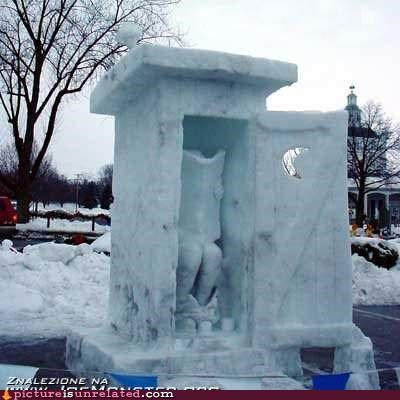 newspaper,outhouse,sculpture,snow,toilet,wtf
