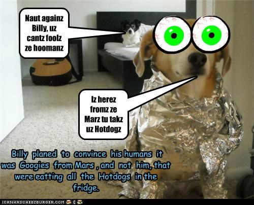 Iz herez fromz ze Marz tu takz uz Hotdogz Naut againz Billy, uz cantz foolz ze hoomanz Billy planed to convince his humans it was Googies from Mars , and not him, that were eatting all the Hotdogs in the fridge.