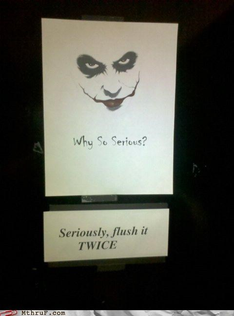 bathroom,batman,flush,sign,the dark knight,the joker