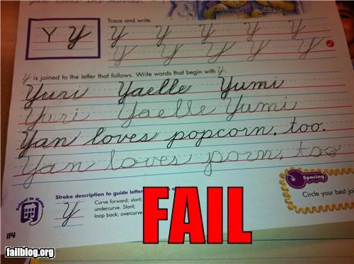 cursive failboat g rated homework kids school - 4866975744