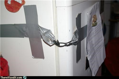 closed,duct tape,locked up,refrigerator