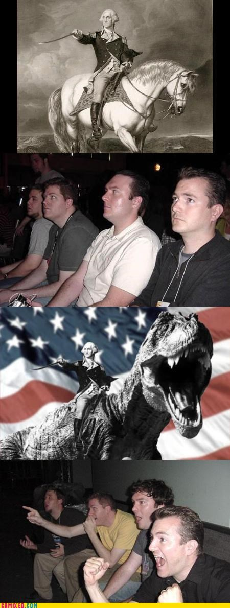 america,dinosaur,george washington,horse,reaction guys,t rex,usa