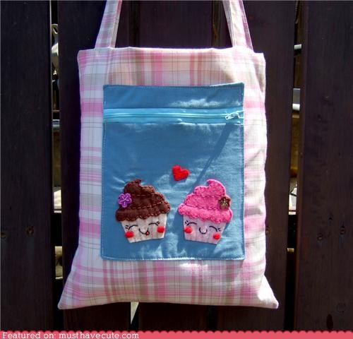 applique bag cupcakes felt love pink plaid pocket tote zipper - 4867156992