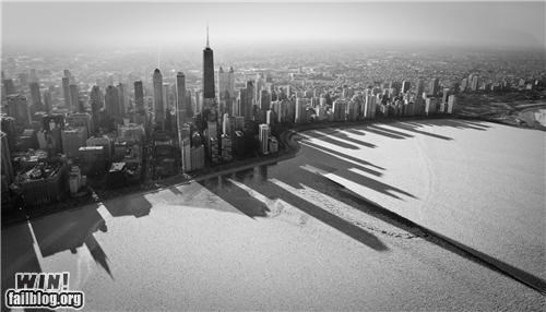Brother Nature FTW city cityscape frozen lakes oh Chicago shadows winter