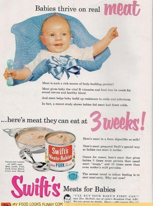 Ad advertising baby food magazine meat Paste vintage