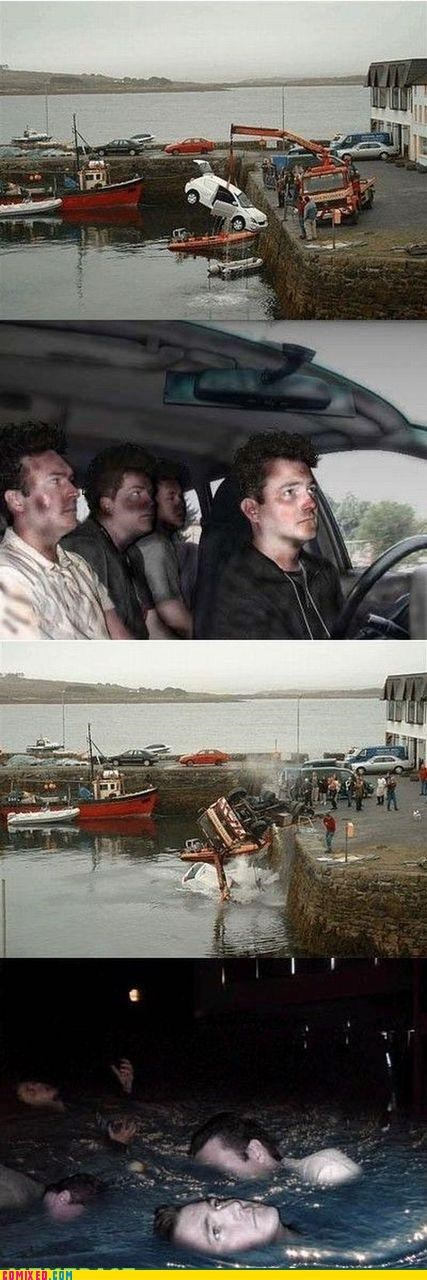 car accident,drown,reaction guys,water