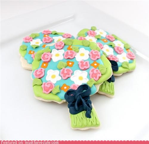 boquet cookies epicute flowers frosting icing ribbon - 4868376320