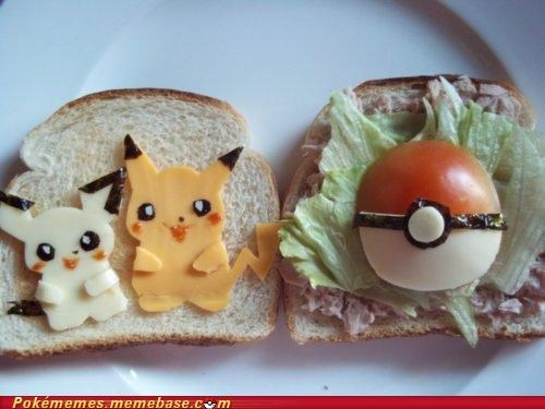 delicious IRL pichu pikachu pokeball sandwich - 4868673536