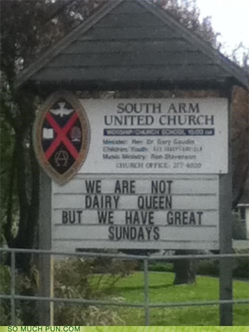 billboard but caveat church dairy queen great homophone homophones not sundaes sundays win