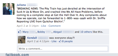 pity train,pity party,failbook