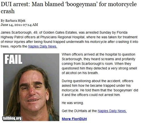 alcohol crash driving failboat motorcycle Probably bad News stupid criminals - 4868837888