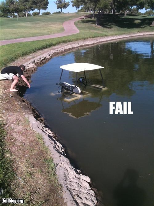 crash,failboat,golf,golf cart,g rated,sports,water damage