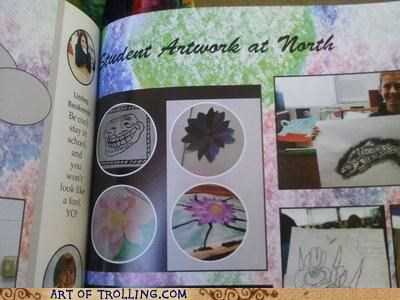 art IRL troll face yearbook