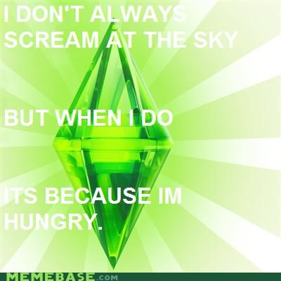hunger,scream,sky,the most interesting man in the world,The Sims