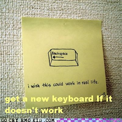 backspace,broken,hipsterlulz,keyboard,post it