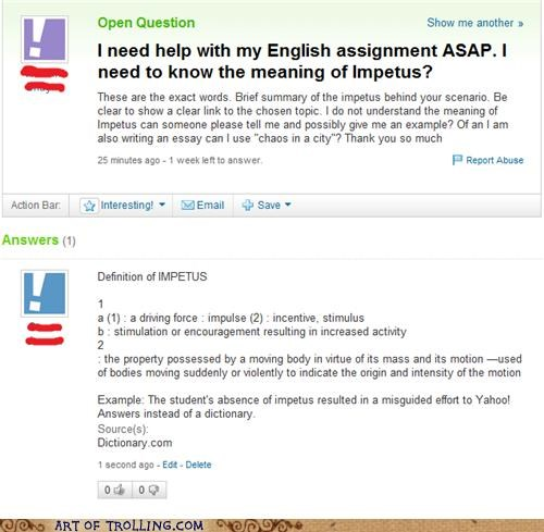 cheating dictionary homework Yahoo Answer Fails - 4870032128