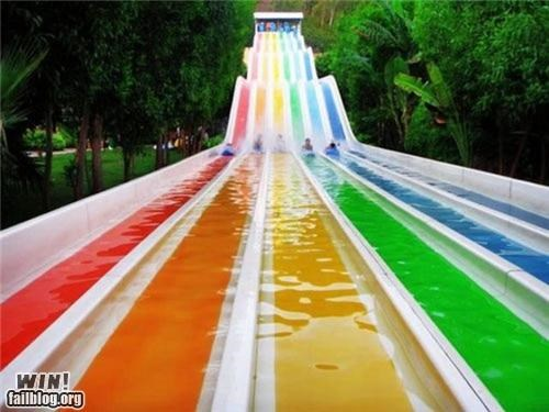 rainbow,slides,summer time,water slide