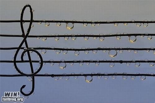 awesome,Music,notes,rain,treble clef,water