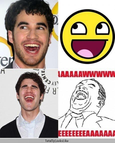 actors aww yeah Darren Criss expressions glee happy Memes poker face Y U No Guy - 4871044096