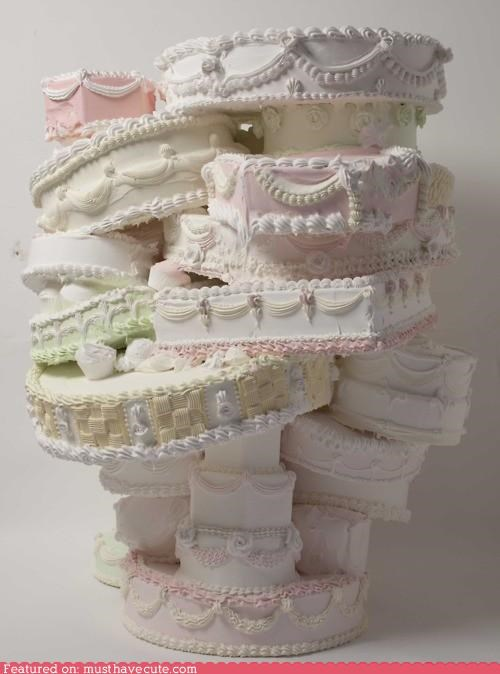 cake,epicute,Pastel,precarious,stack,wedding cake,white