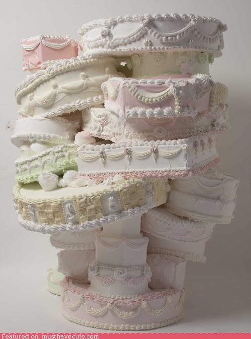 cake epicute Pastel precarious stack wedding cake white - 4871902464