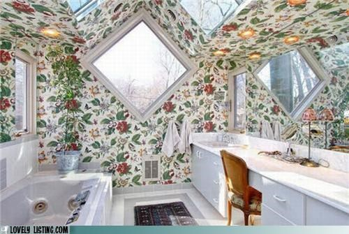bathroom,floral,wallpaper