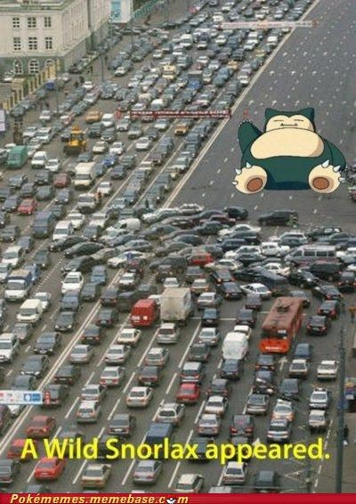 blocking,cars,path,snorlax,traffic,turn around