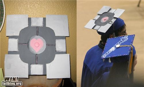 cap,companion cube,graduation,nerdgasm,Portal,video game