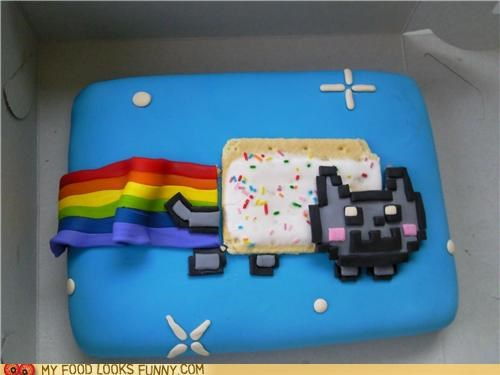 8 bit cake fondant Nyan Cat pop tart rainbow space - 4873703936