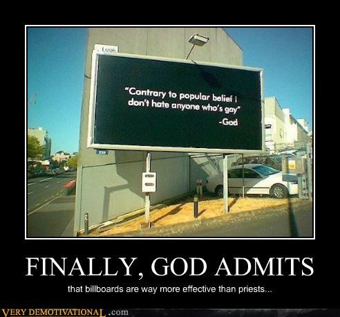 FINALLY, GOD ADMITS that billboards are way more effective than priests...