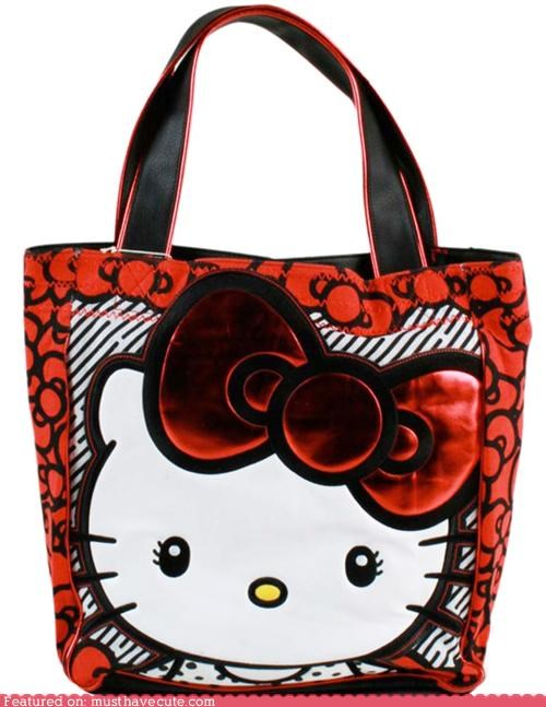 bow,hello kitty,hiny,kitty,red,tote bag