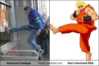 Vancouver hooligan Totally Looks Like Ken's Hurricane Kick