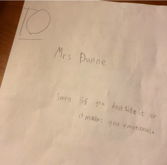 student writes to his teacher about her dog