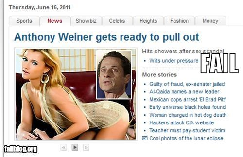 Anthony Weiner inneundo p33n poll Probably bad News