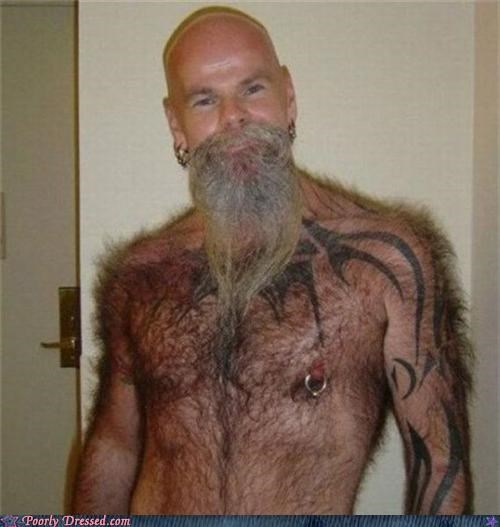 beard,hair,nipple piercing,tattoos,topless