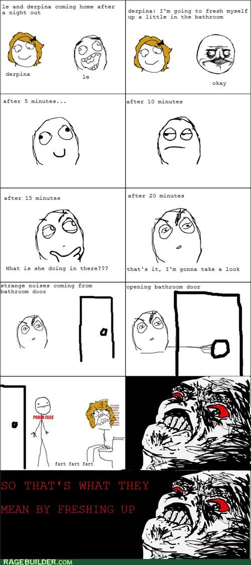 freshening up,gross,pooping,Rage Comics