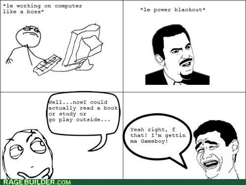 computer gameboy power outage Rage Comics technology - 4875642624