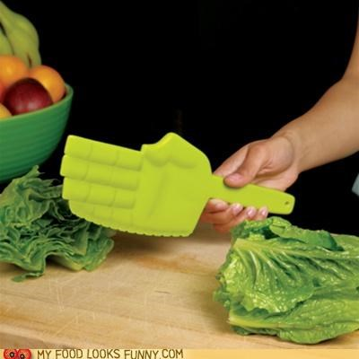 hand,hi-ya,karate chop,knife,lettuce,plastic