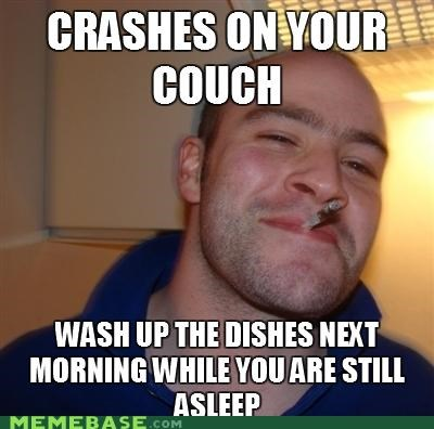 breakfast,couch,dishes,Good Guy Greg,sleep
