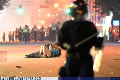 kissing,making out,outside,riot,street