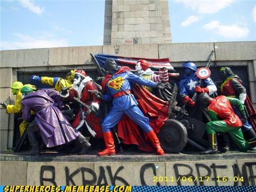 captain america joker monument robin Superhero IRL superman wtf - 4878479360