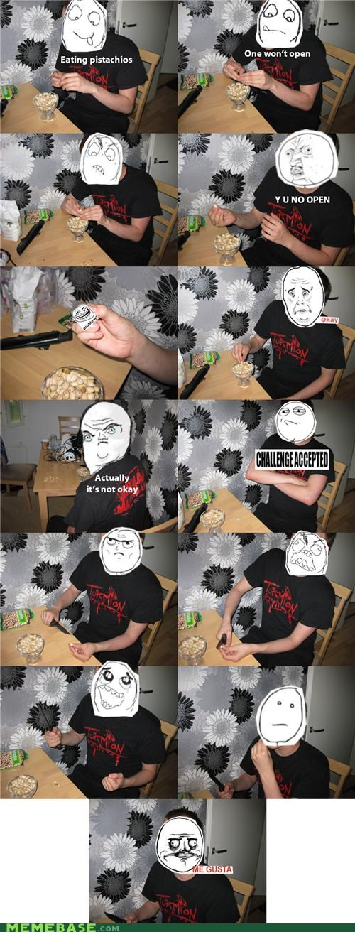 faces food IRL nuts Pistachio Rage Comics touch - 4878682624