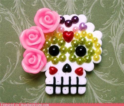 accessory brooch Day Of The Dead pin skull sugar skull - 4878766336